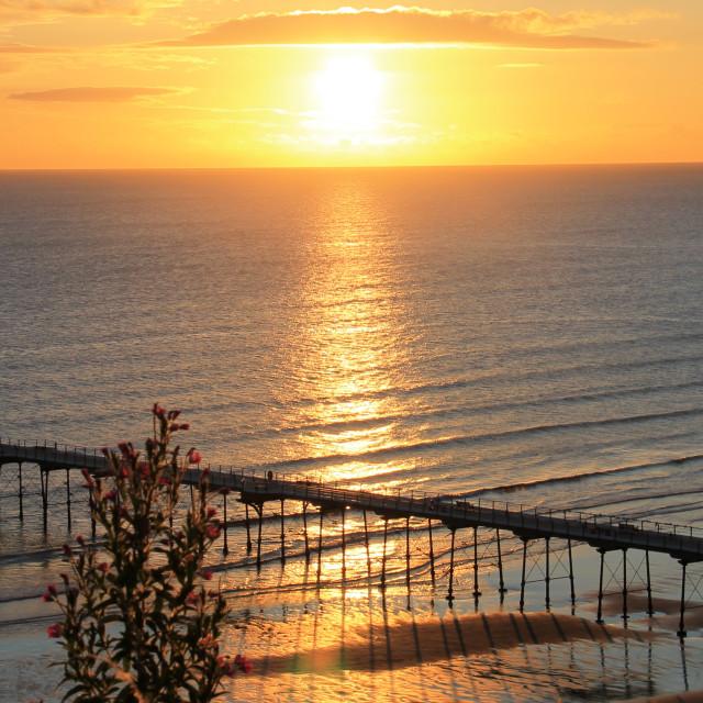 """Saltburn Pier at Sunrise"" stock image"