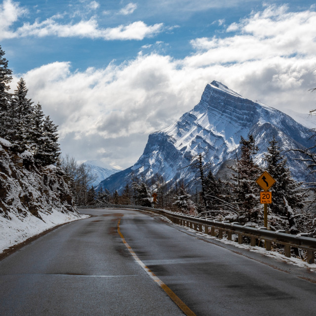 """Mount Rundle from the roads of Mount Norquay"" stock image"