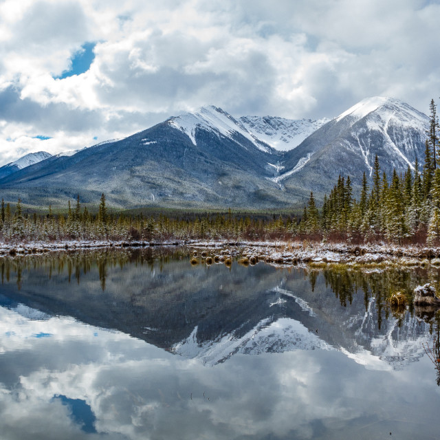 """Reflecting at the Vermillion Lakes"" stock image"