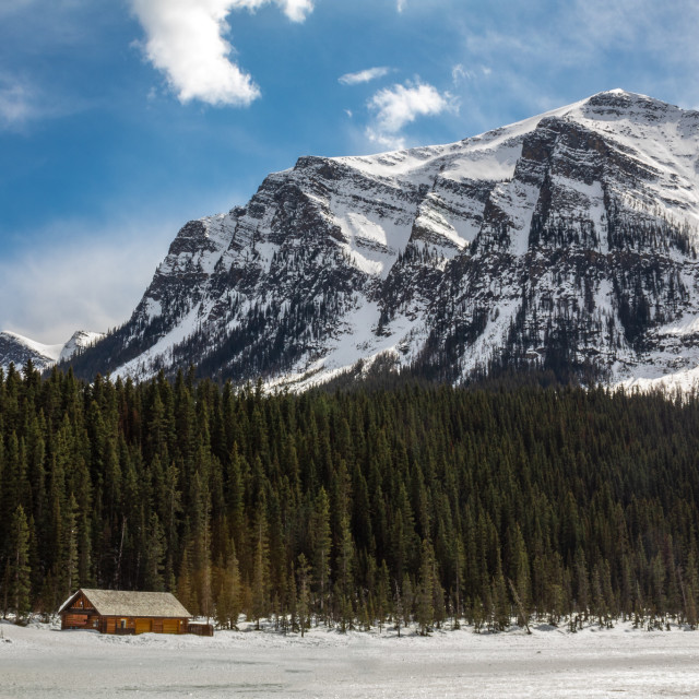 """""""The Cabin on Lake Louise"""" stock image"""
