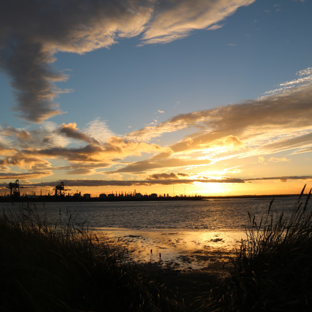 """""""Sunset at South Gare"""" stock image"""