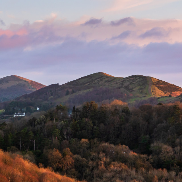"""Early sun sidelights the Malvern Hills"" stock image"