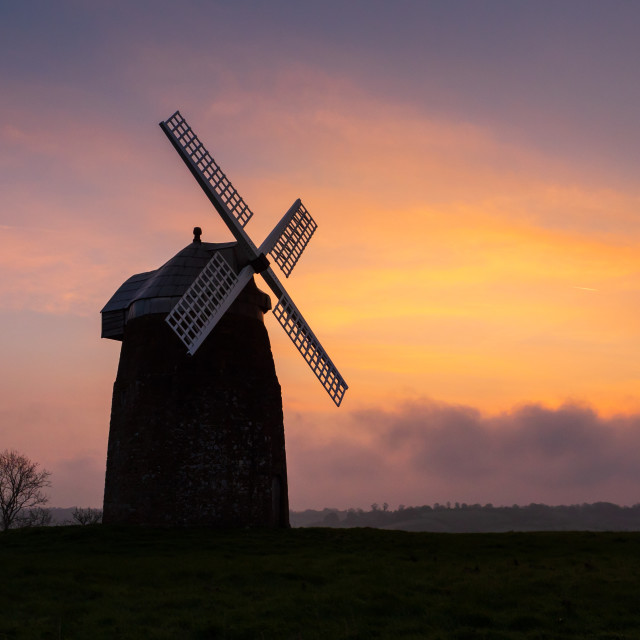 """Dawn at Tysoe Windmill"" stock image"
