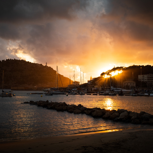 """Stormy sunset at Port de Soller in Majorca."" stock image"