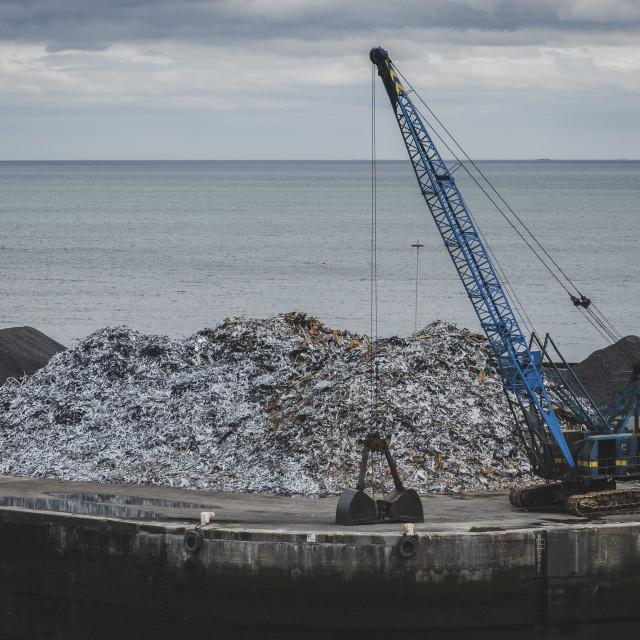 """Seaham harbour crane"" stock image"