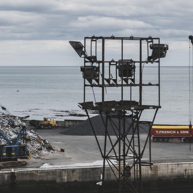 """Seaham harbour cranes"" stock image"
