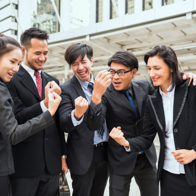"""""""International Business colleague cheer up"""" stock image"""