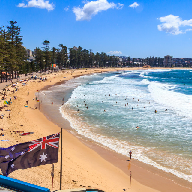 """""""Australian flag and Manly beach"""" stock image"""
