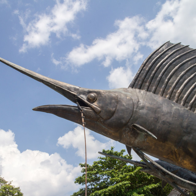 """Public sculpture of a sailfish at Ao Nang beach, Krabi, Thailand"" stock image"
