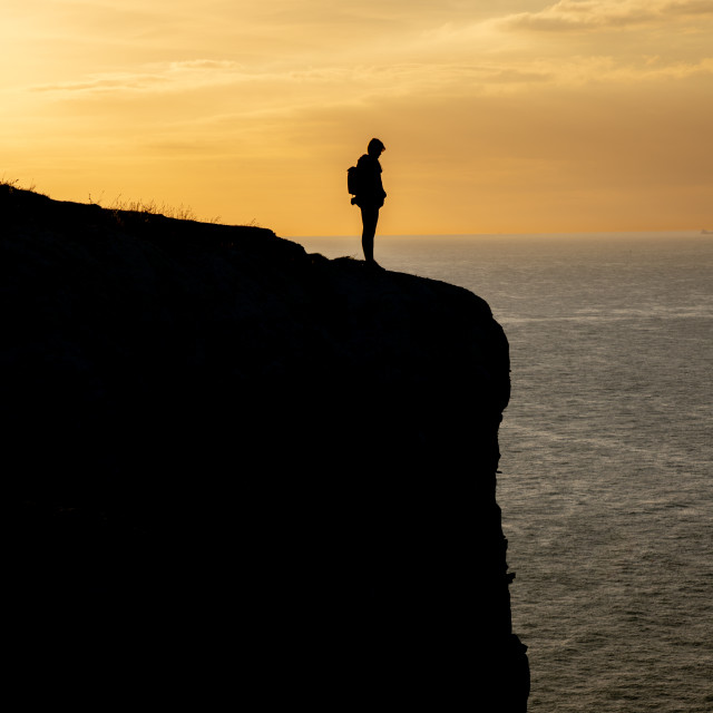 """""""Silhouette on the Cliff"""" stock image"""