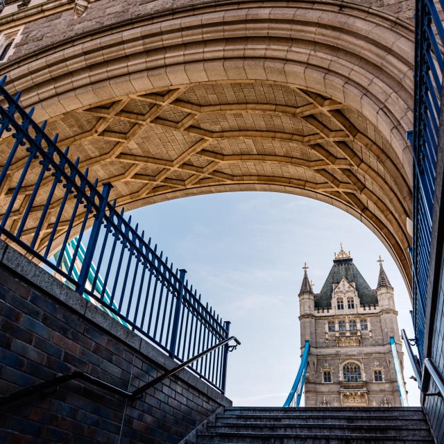 """Low angle view of Tower Bridge in London"" stock image"