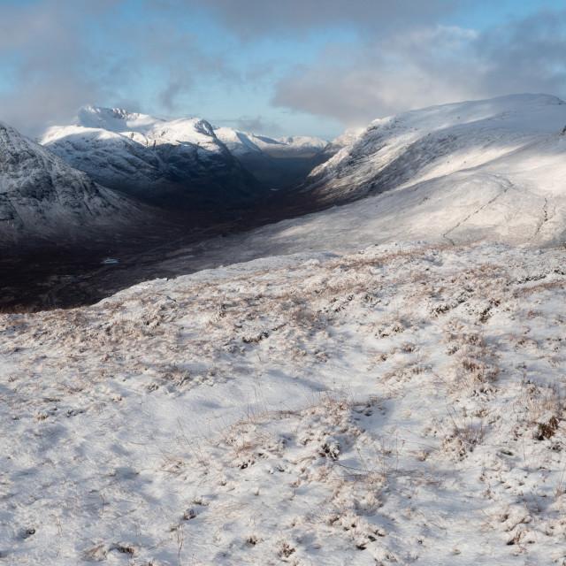 """Snow at Glen Coe"" stock image"