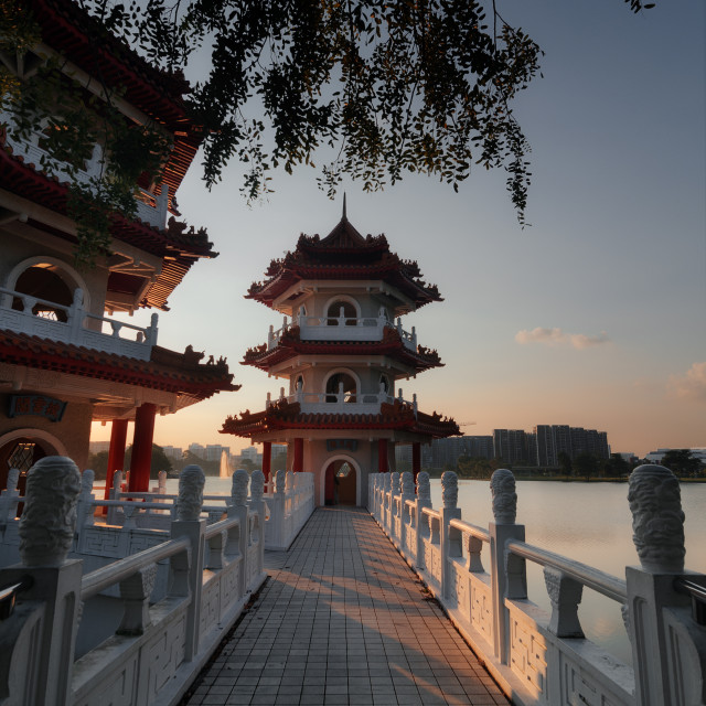 """Twin pagoda sunset"" stock image"
