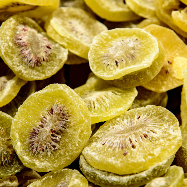 """Dry kiwi sweet fruits heap for sale"" stock image"