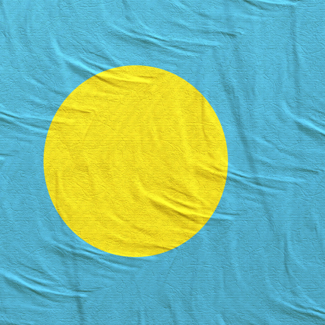 """""""3d rendering of Palau flag"""" stock image"""