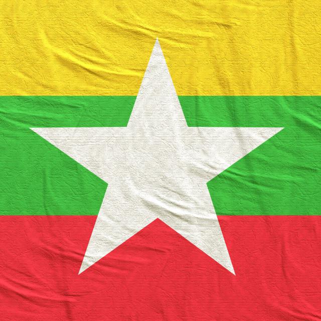 """3d rendering of Myanmar flag"" stock image"
