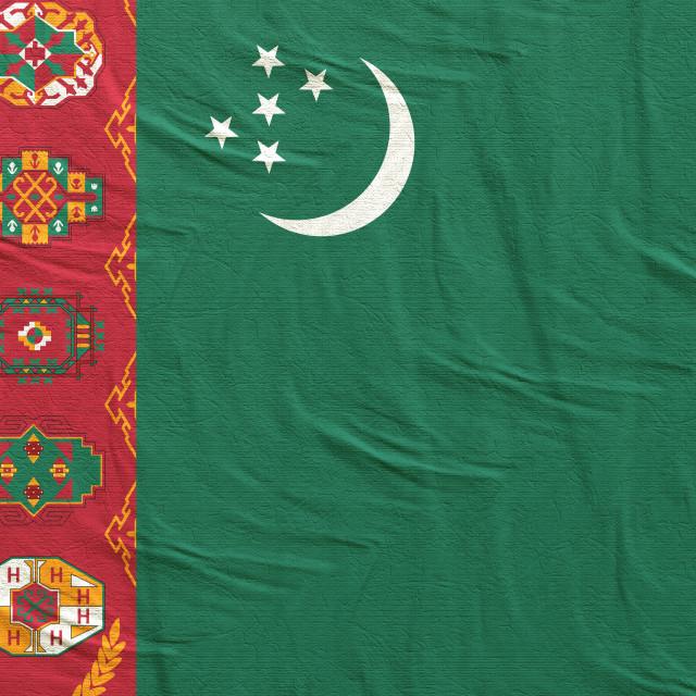"""3d rendering of Turkmenistan flag"" stock image"