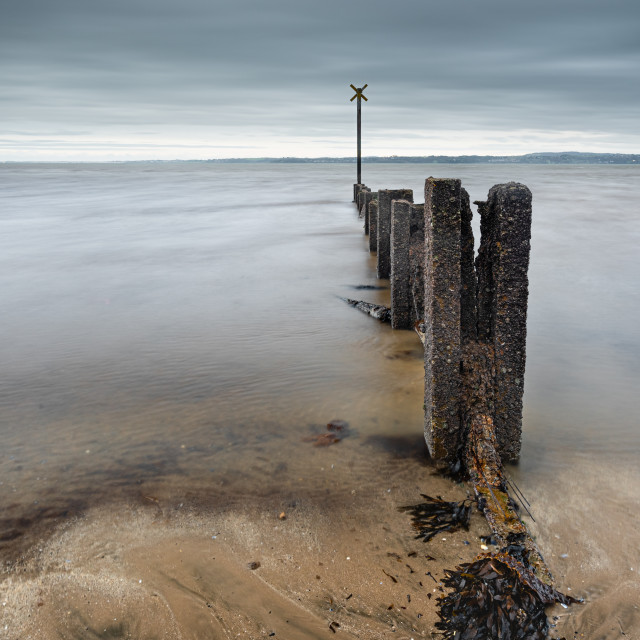 """A weakened sea defence groyne"" stock image"