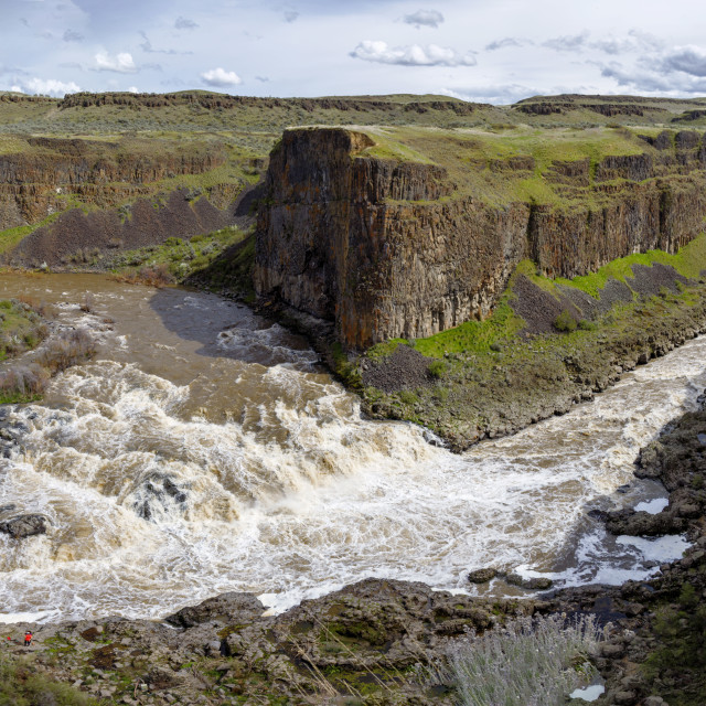 """Upper Palouse Falls wide angle view"" stock image"