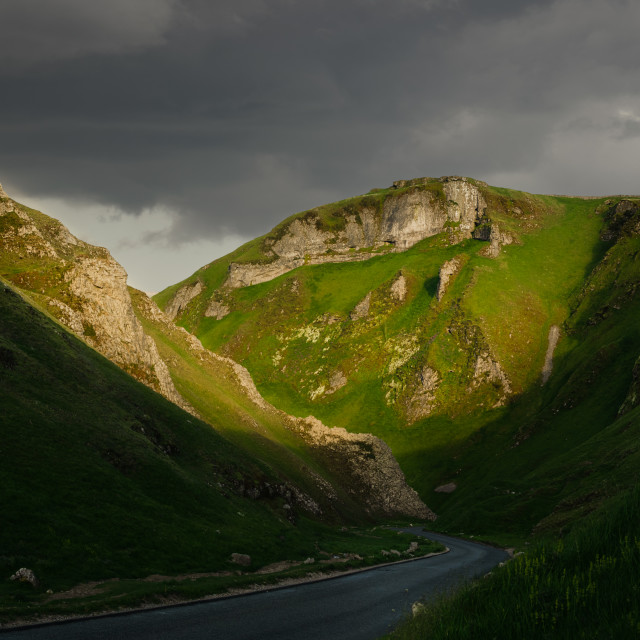 """A pocket of light on the Winnats Pass"" stock image"