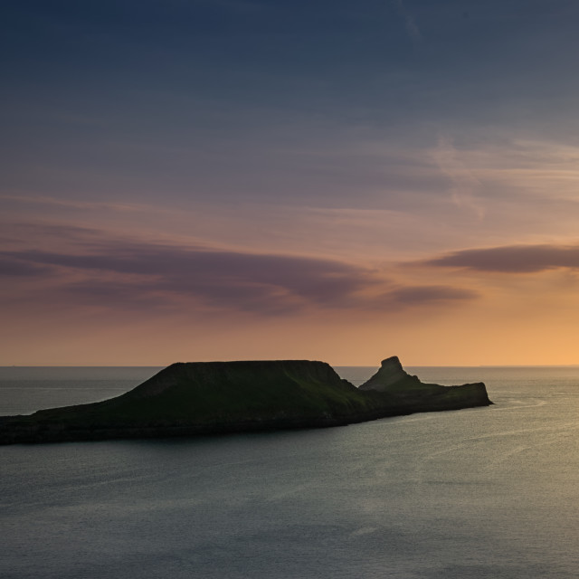 """""""The Worms Head, Sunset"""" stock image"""