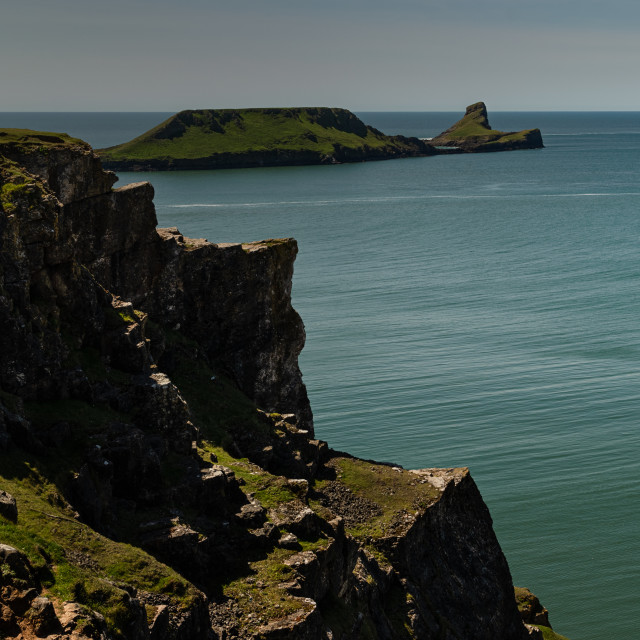 """The Worms Head, near Rhosilli Bay, Gower, Wales."" stock image"