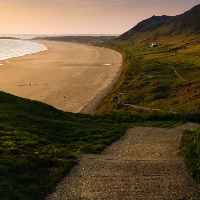 """""""The footpath leading to Rhosilli Bay on the Gower Peninsula.."""" stock image"""