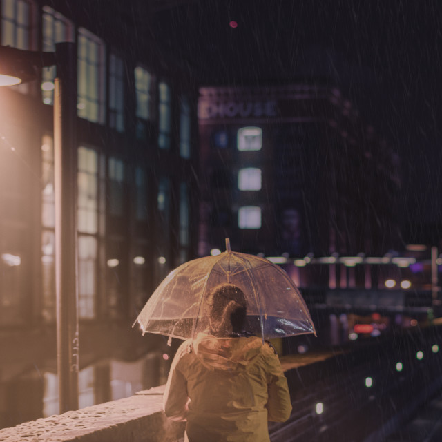 """A rainy night in Manchester..."" stock image"