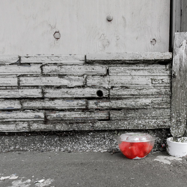 """Forgotten Watermelon on Sidewalk"" stock image"