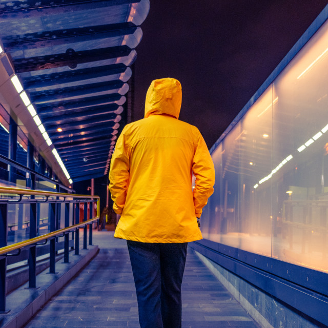 """Anonymous at Deansgate-Castlefield tram stop"" stock image"
