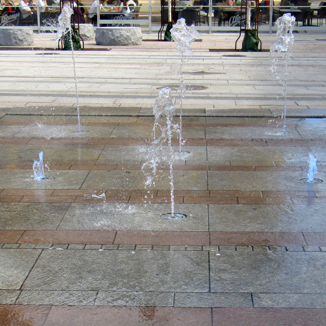 """Illuminated fountains"" stock image"