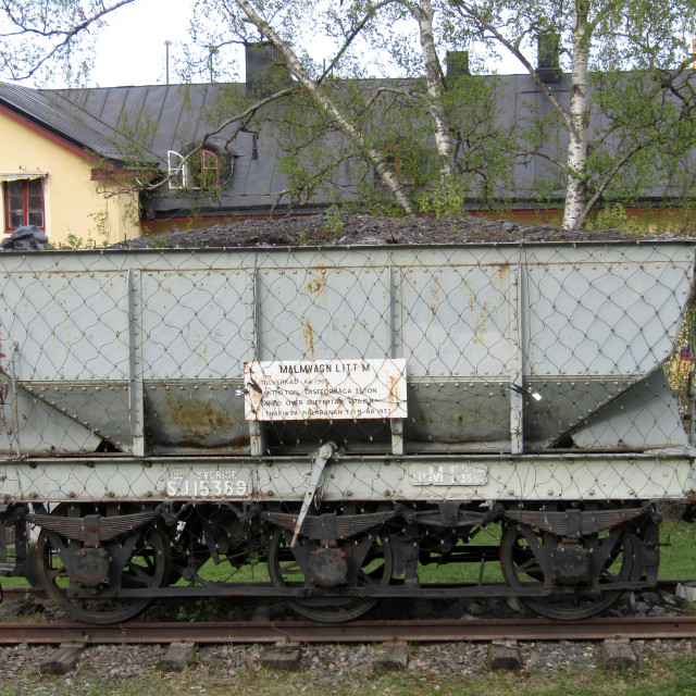 """Old train coal carriage in Lulea, Sweden"" stock image"