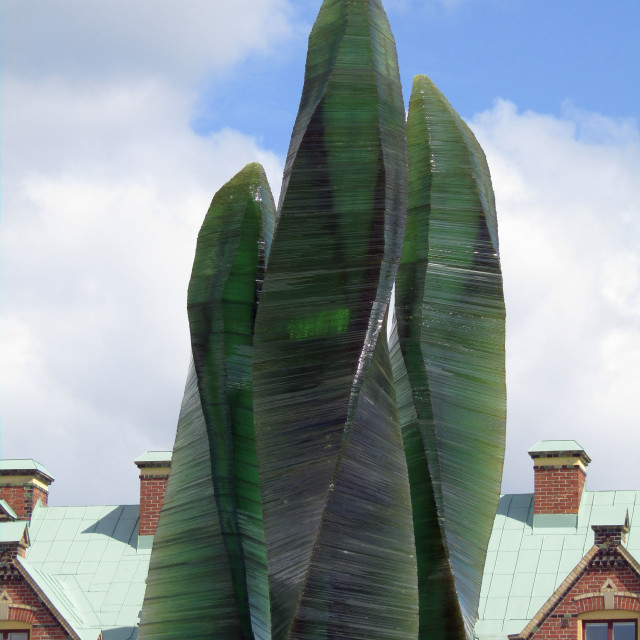"""Green glass sculpture in Umea, Sweden"" stock image"