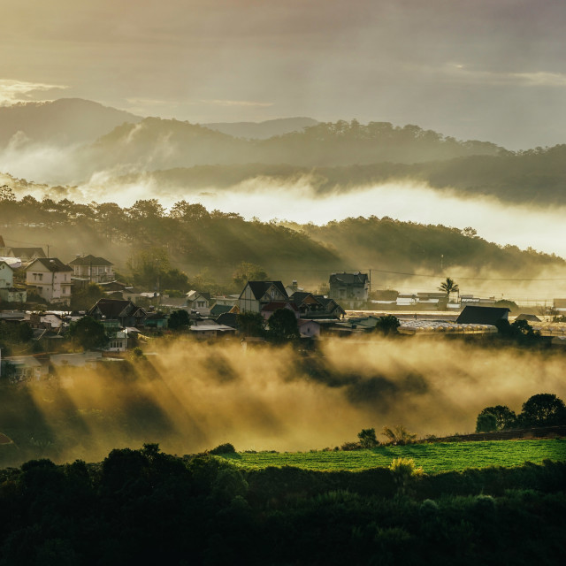 """Morning in a village"" stock image"