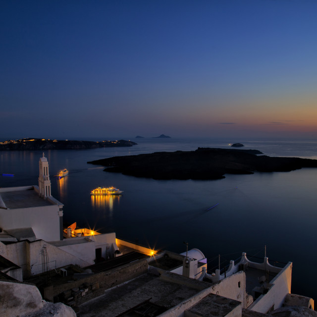 """The volcano of Santorini"" stock image"