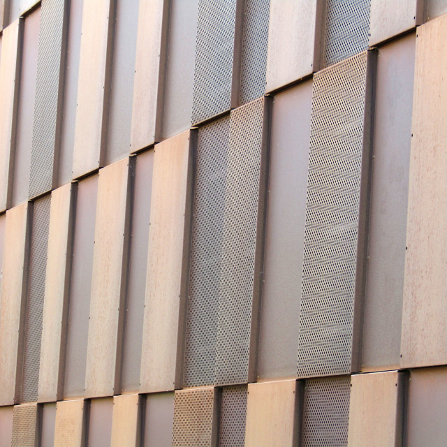 """Metallic outside building wall in Trondheim"" stock image"