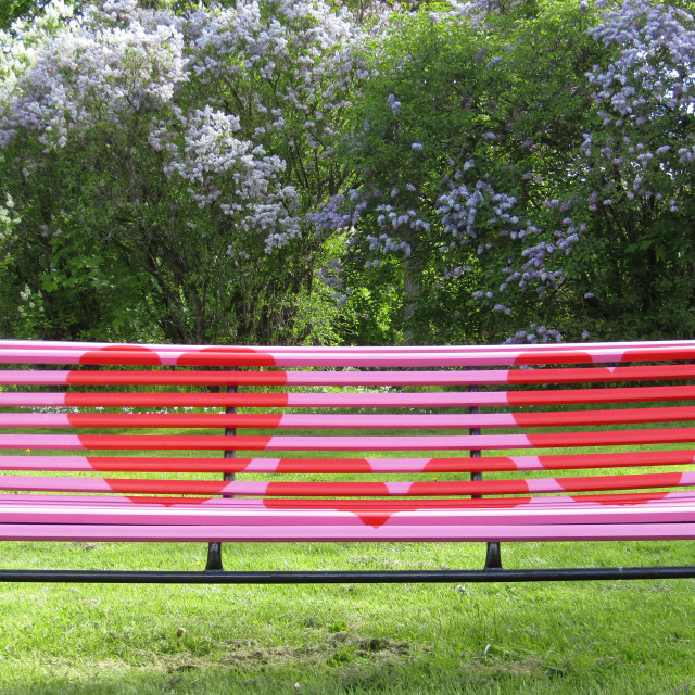 """Love bench in Trondheim"" stock image"