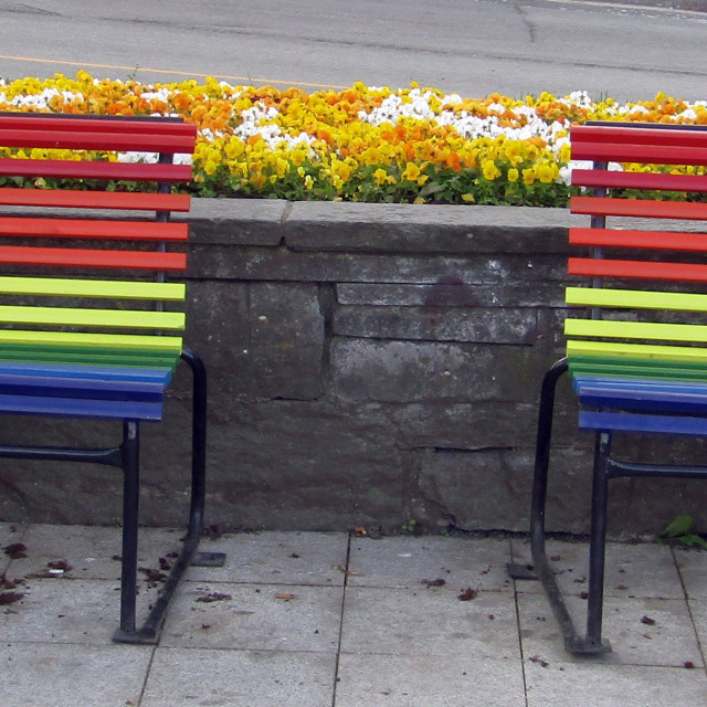 """Coloured benches in Trondheim"" stock image"