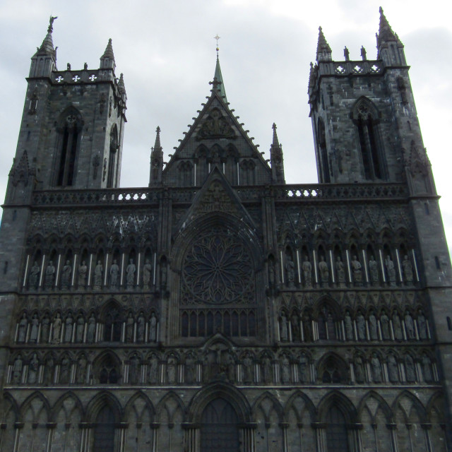 """Front of Nidaros Cathedral, Trondheim"" stock image"