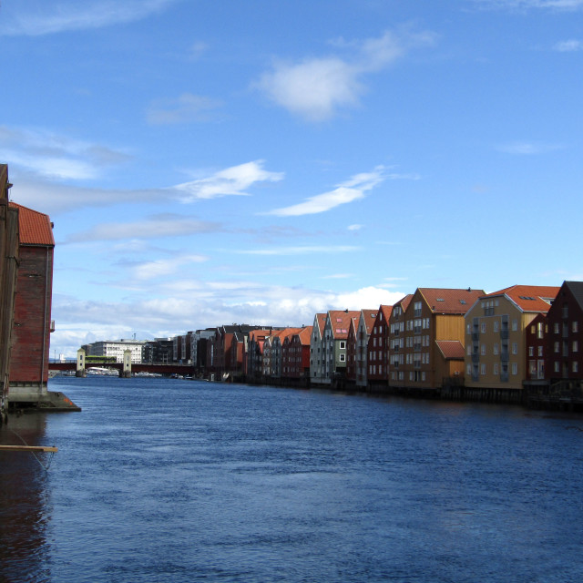 """River Nidelva building frontage, Trondheim"" stock image"