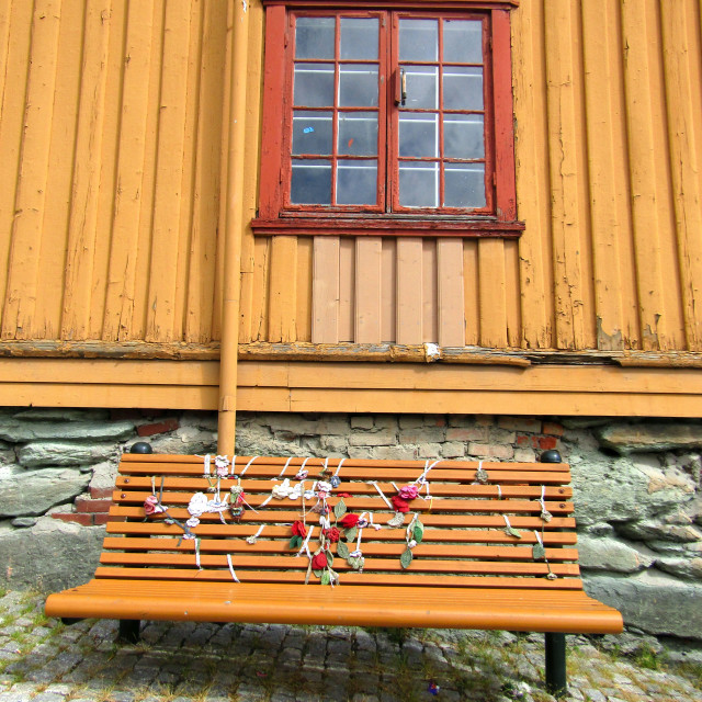 """Decorated bench in Trondheim"" stock image"