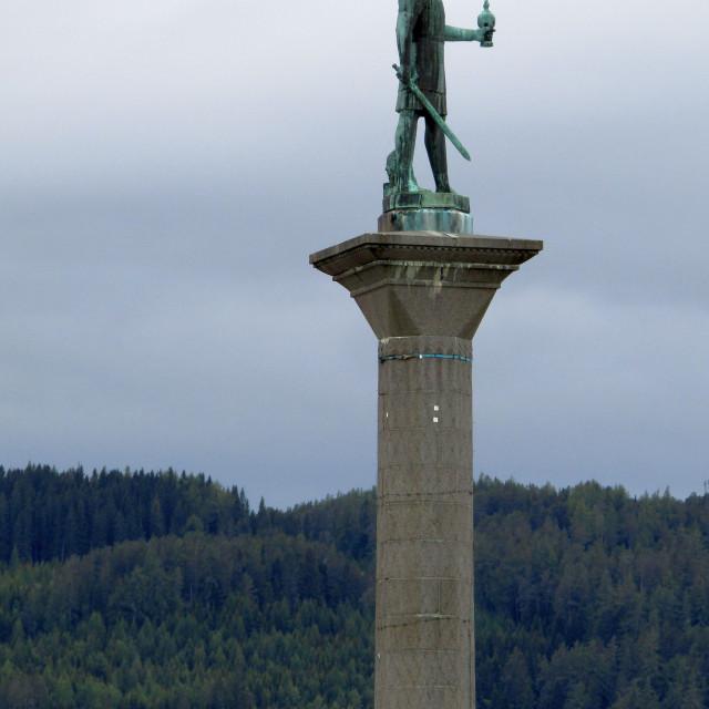 """Olaf Tryggvason monument, Trondheim"" stock image"