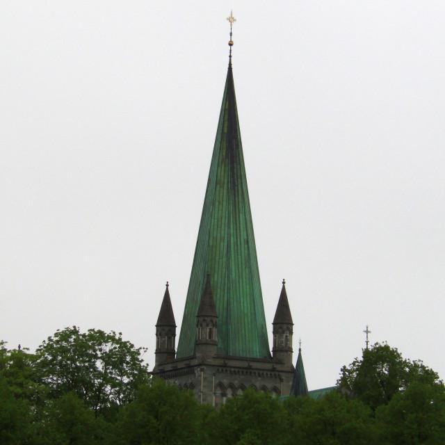 """""""Nidaros Cathedral spire, Trondheim"""" stock image"""