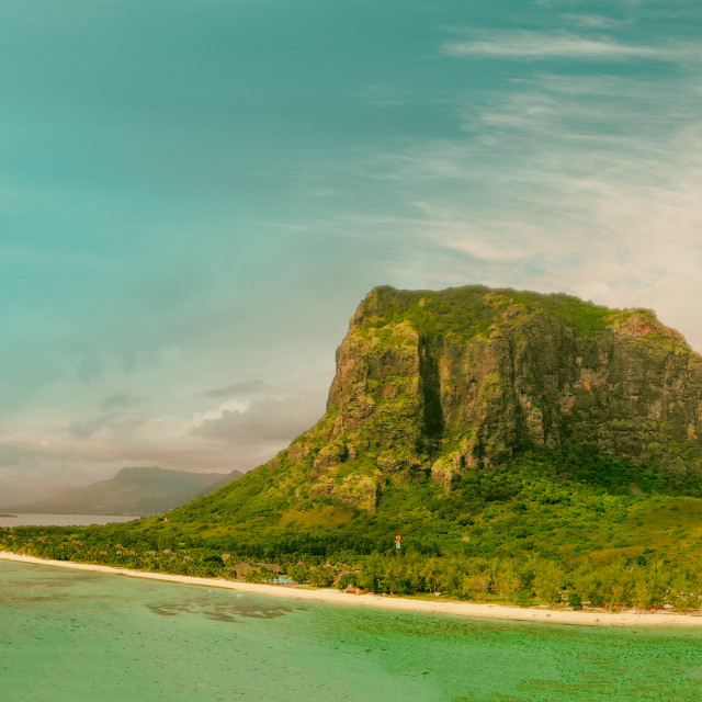 """""""Le Morne Brabant in Mauritius. Amazing aerial view of beach, forest and mountain"""" stock image"""