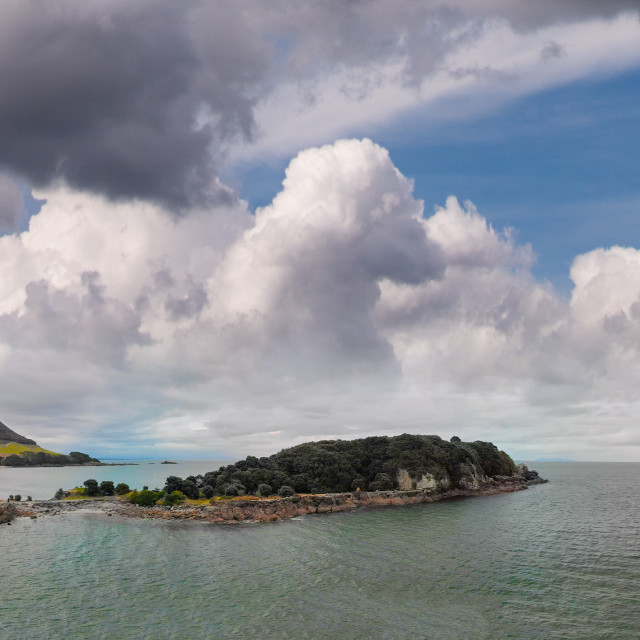 """""""Mount Maunganui, New Zealand. Panoramic aerial view of beautiful seascape at..."""" stock image"""