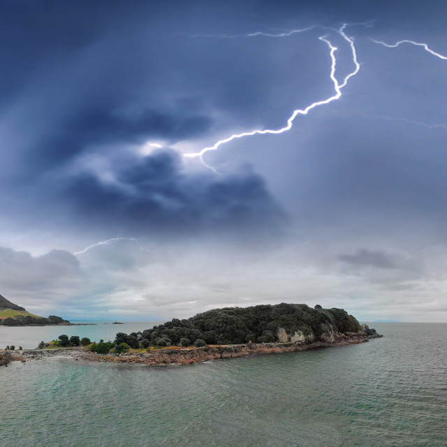 """""""Storm over Mount Maunganui in New Zealand, aerial view"""" stock image"""