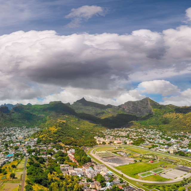 """""""Panoramic sunset view of Port Louis skyline from city fortress, Mauritius"""" stock image"""