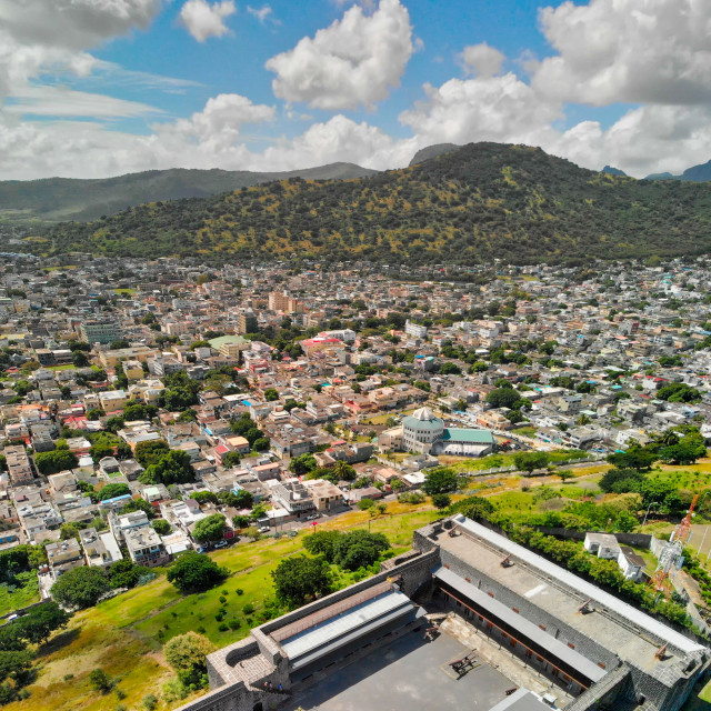 """""""Port Louis aerial skyline with city fortress, Mauritius"""" stock image"""