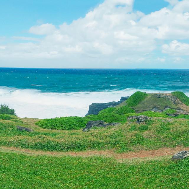 """""""La Roche Qui Pleure landscape aerial view, Mauritius"""" stock image"""