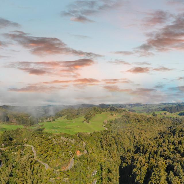 """Huka Falls, New Zealand. Panoramic aerial view of beautiful waterfalls and..."" stock image"